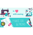 Sewing flat design two banners vector image vector image