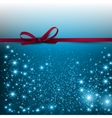 Gorgeous blue background with red bow and copy vector image vector image