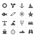 Black marine and sea icons vector