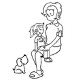 simple black and white mom girl and dog vector image