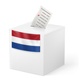 Ballot box with voting paper Netherlands vector image