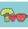 broccoli strawberry cartoon graphic vector image