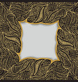 frame made of curly golden hand draw elements vector image
