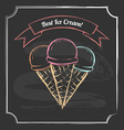 Vintage poster Chalkboard style Three ice cream vector image