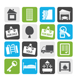 Flat Real Estate icons vector image