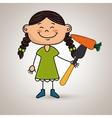 girl vegetables fork carrot vector image