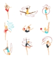 Rhythmic Gymnasts Training With Different vector image