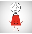 concept commerce bag gift with airplane icon vector image