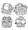 Cinema and 3d movie advertising designs in cartoon vector image