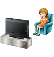 A young girl watching TV happily vector image vector image