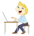 Smiling man types on a laptop vector image