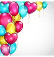 Background with colored balloons and serpentines vector image