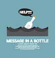 Message in a Bottle Floating In The Sea vector image