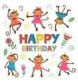 Stylish Happy birthday card with cute monkeys vector image