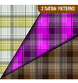 Set of three Tartan Plaid samples in vector image