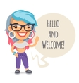 Casually Dressed Girl Says Hello vector image vector image
