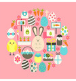 Easter Flat Icons Set over pink vector image