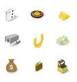 gambling icons set isometric style vector image