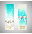 holiday blue banners with white bows vector image