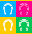 horseshoe sign four styles of icon vector image