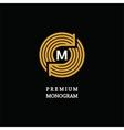 Modern template monogram emblem logo Circle of vector image