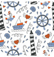 colorful seamless sea pattern with boats and vector image
