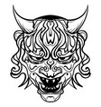 black and white demon with horns vector image