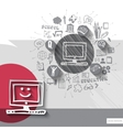Paper and hand drawn computer emblem with icons vector image vector image