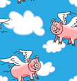 Seamless flying pig pattern vector image
