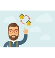 Man pointing the two houses icon vector image