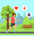 man running the park with heart rate monitor watch vector image