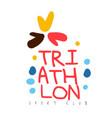 triathlon sport club logo colorful hand drawn vector image