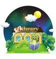 A worm reading a book in front of the library vector image vector image