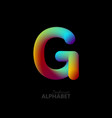 3d iridescent gradient letter g vector image