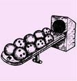 bowling balls sitting ball return vector image vector image