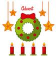 advent wreath star candles decoration celebration vector image