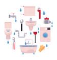 cartoon plumbing set vector image