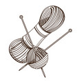 set of monochrome knitting threads and clew with vector image