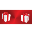 White gift boxes on heart background vector image
