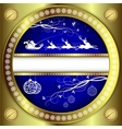 Christmas blue design with a gold border vector image