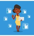 Woman with like social network buttons vector image vector image