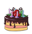 festive chocolate cake with candles vector image vector image
