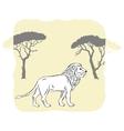 Lion between savannah trees vector image
