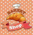 Bakery sign with croissant and text vector image