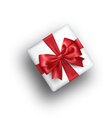 White Celebration Gift Box with Red Bow Isolated vector image