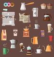 Coffee icon set color vector image