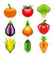 Pixel vegetables for games icons set vector image