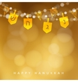 Hanukkah golden background with string of lights vector image