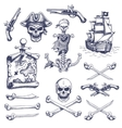 Set of vintage hand drawn pirates designed vector image vector image