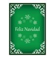 feliz navidad - green vintage christmas card vector image